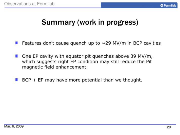 Summary (work in progress)