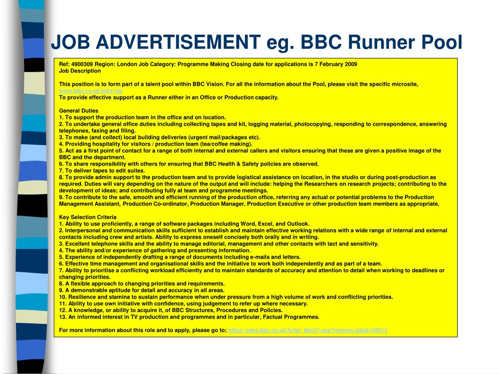 JOB ADVERTISEMENT eg. BBC Runner Pool