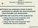 activity 1 strengths weaknesses identified by reviewers