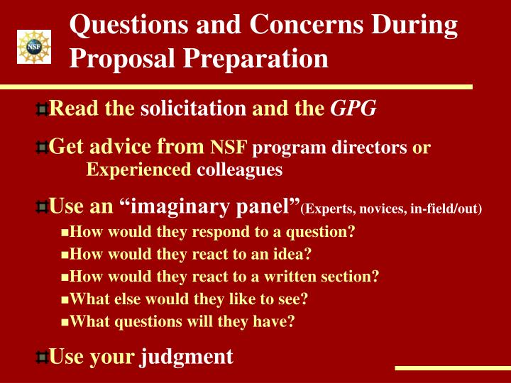 Questions and Concerns During Proposal Preparation