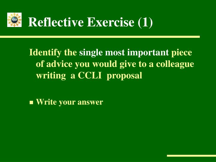 Reflective Exercise (1)