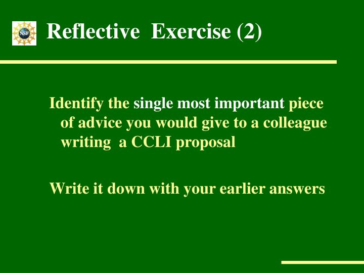 Reflective  Exercise (2)