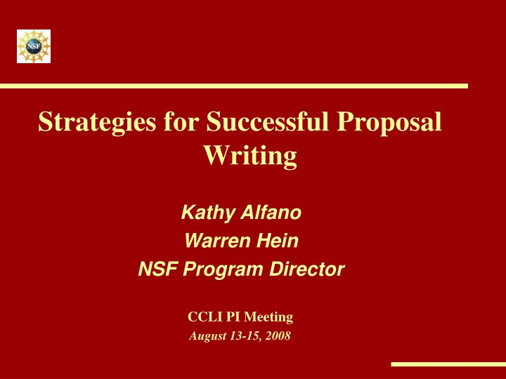 Strategies for Successful Proposal Writing