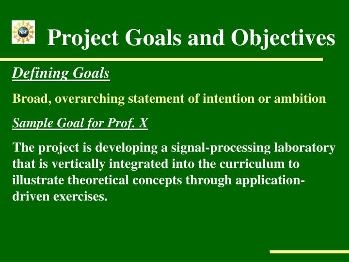 Project Goals and Objectives