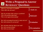 write a proposal to answer reviewers questions