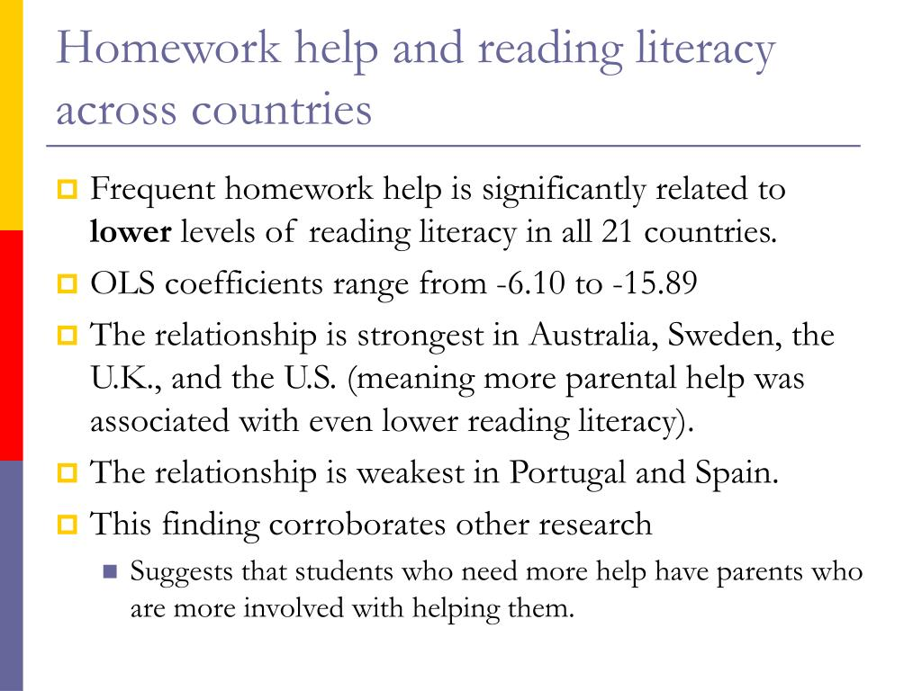 Homework help and reading literacy across countries