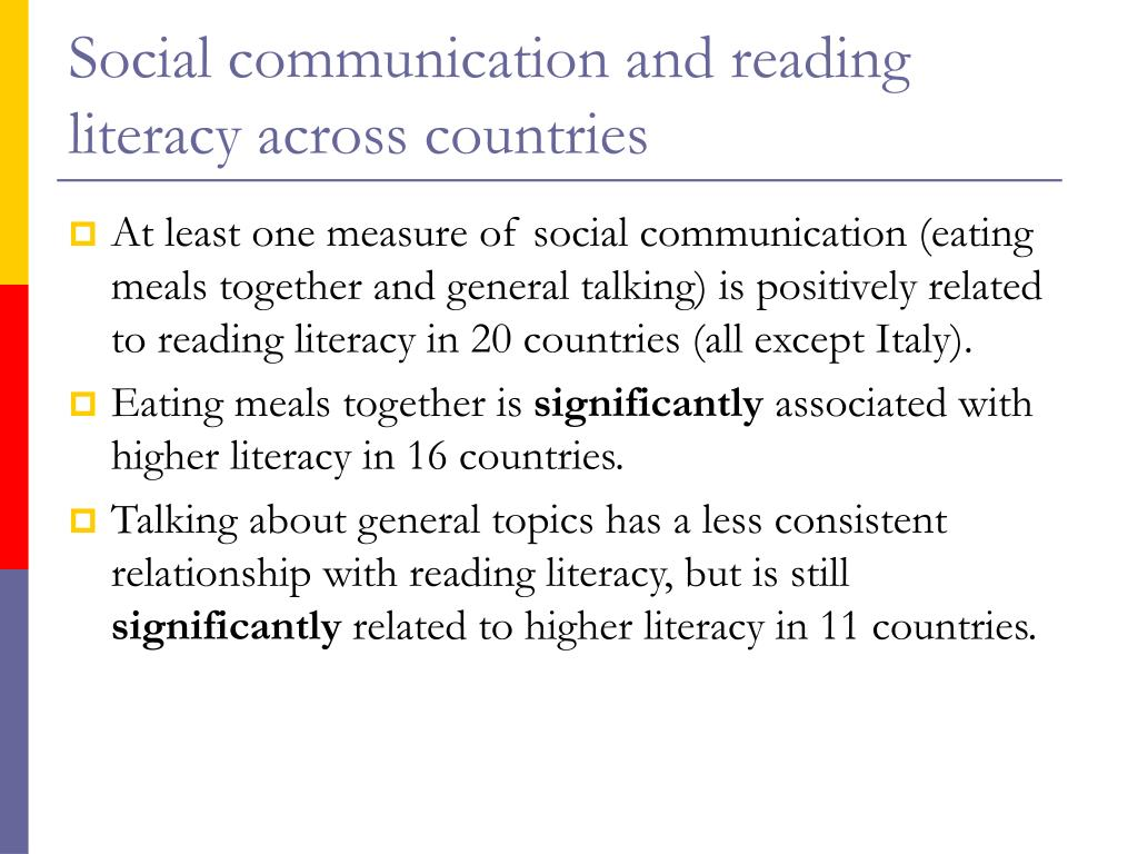 Social communication and reading literacy across countries