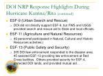 doi nrp response highlights during hurricane katrina rita continued