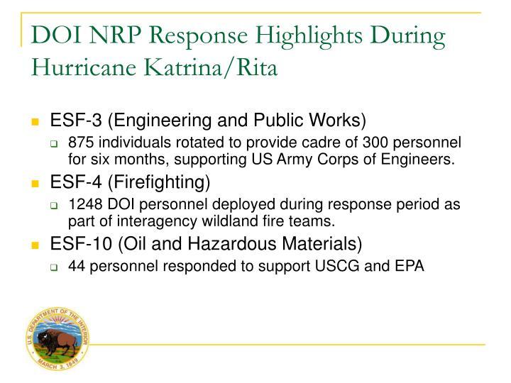 DOI NRP Response Highlights During