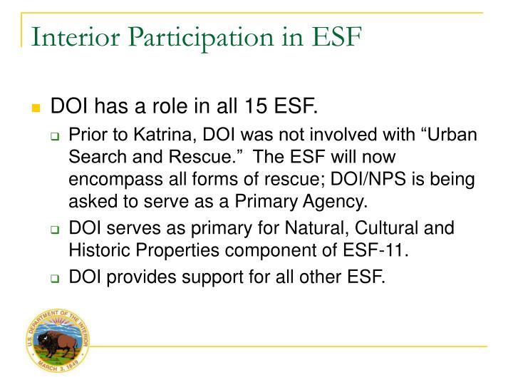 Interior Participation in ESF