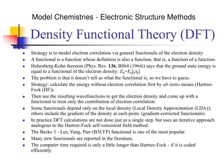 Model Chemistries - Electronic Structure Methods