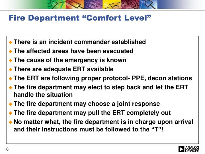 "Fire Department ""Comfort Level"""