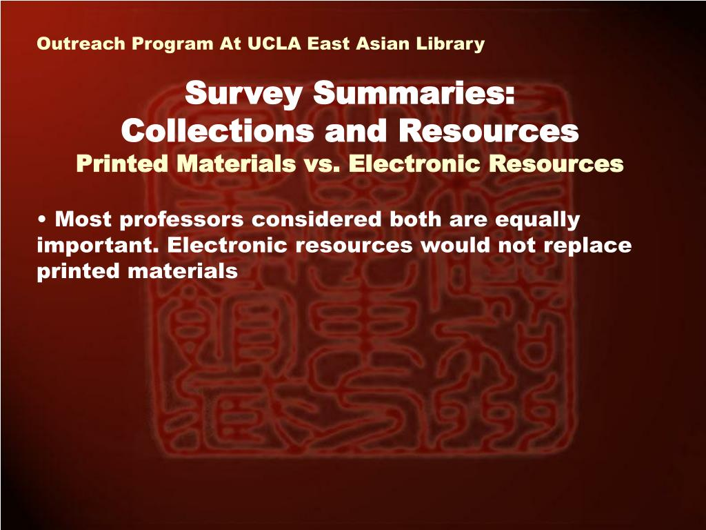 Outreach Program At UCLA East Asian Library