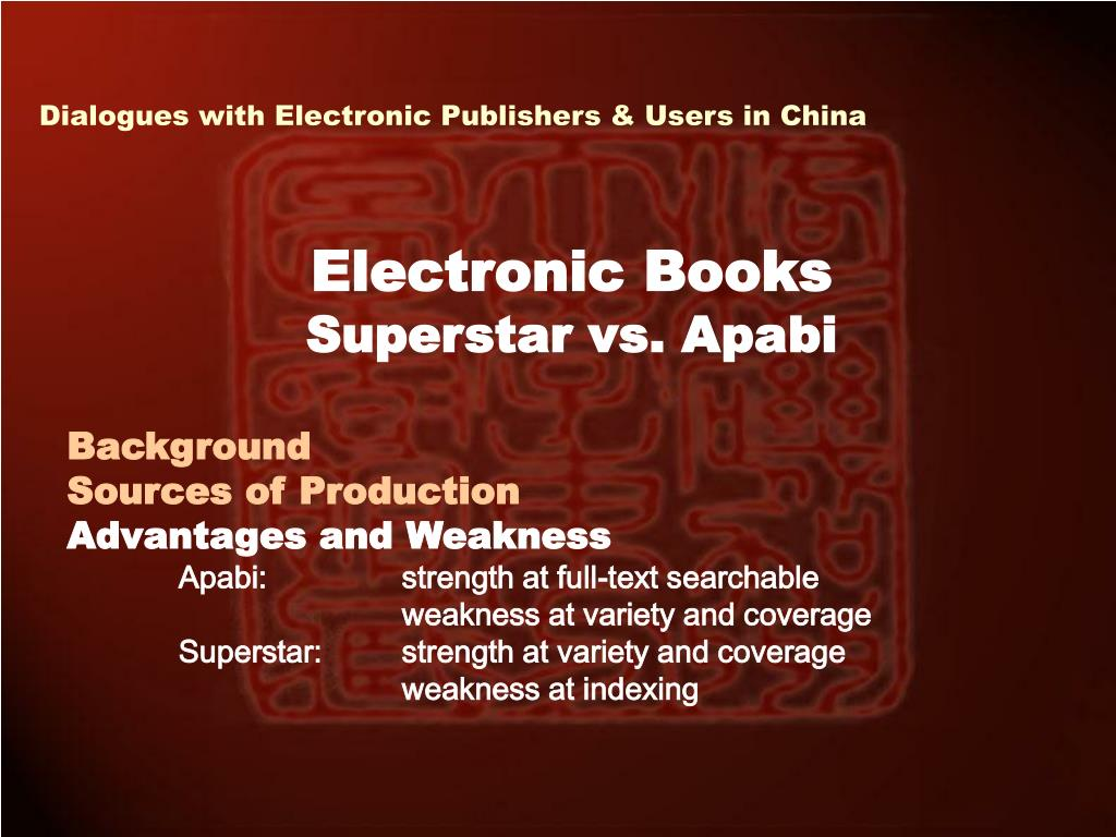 Dialogues with Electronic Publishers & Users in China