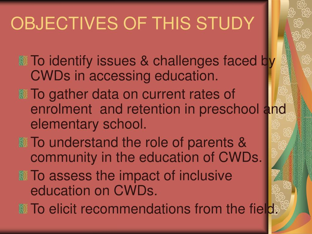 OBJECTIVES OF THIS STUDY