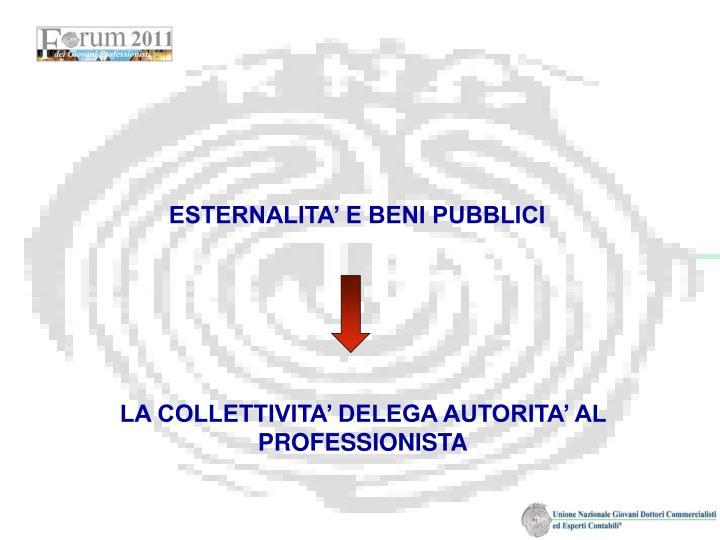 ESTERNALITA' E BENI PUBBLICI