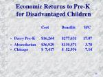 economic returns to pre k for disadvantaged children