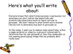 here s what you ll write about