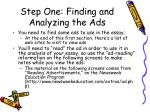 step one finding and analyzing the ads