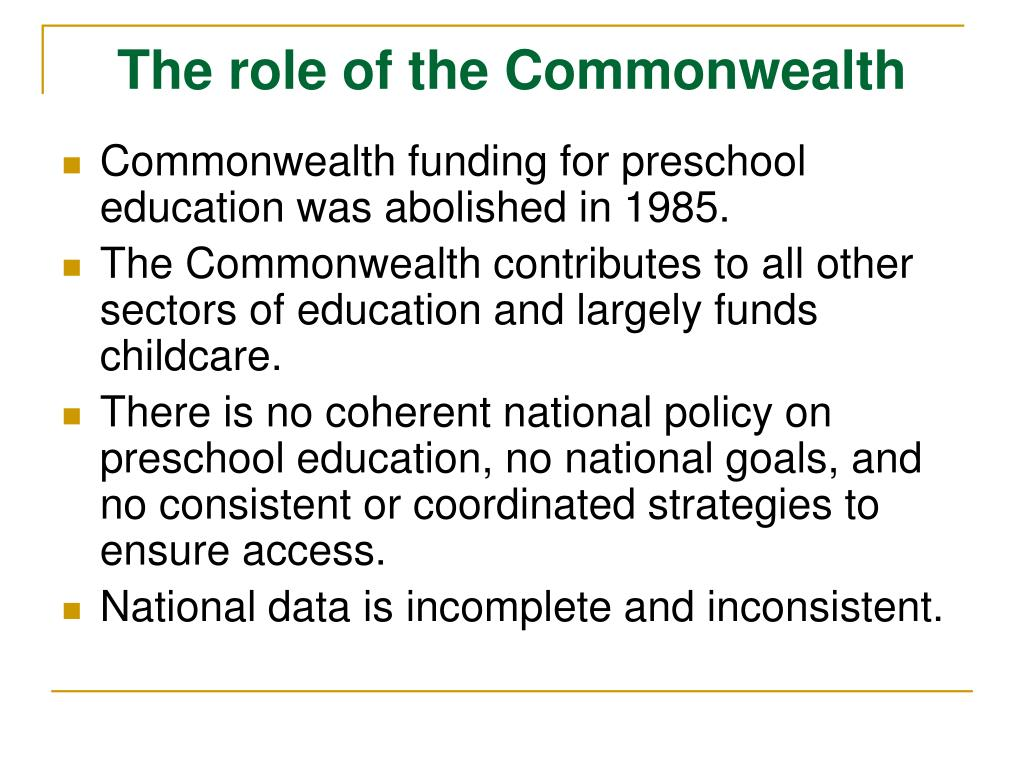 The role of the Commonwealth