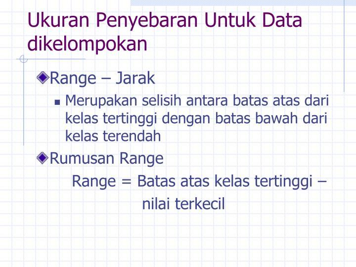 Ukuran Penyebaran Untuk Data dikelompokan