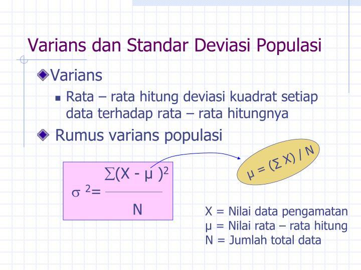 Varians dan Standar Deviasi Populasi