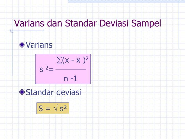 Varians dan Standar Deviasi Sampel