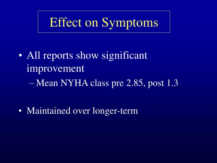 Effect on Symptoms
