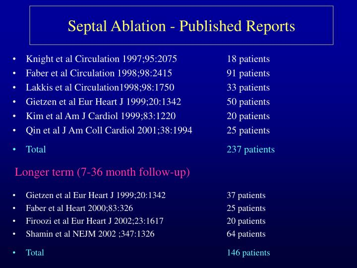 Septal Ablation - Published Reports