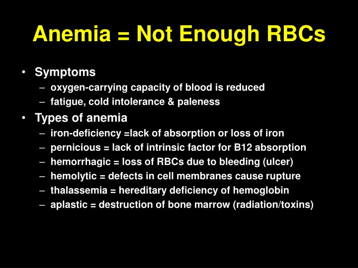 Anemia = Not Enough RBCs