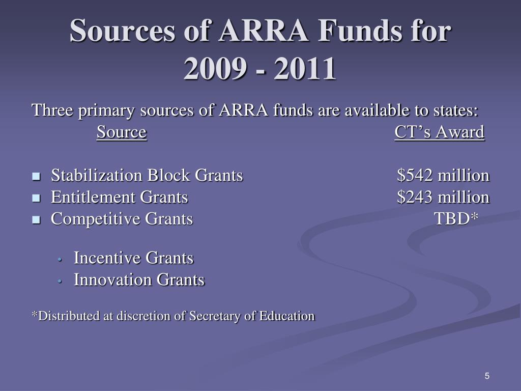 Sources of ARRA Funds for