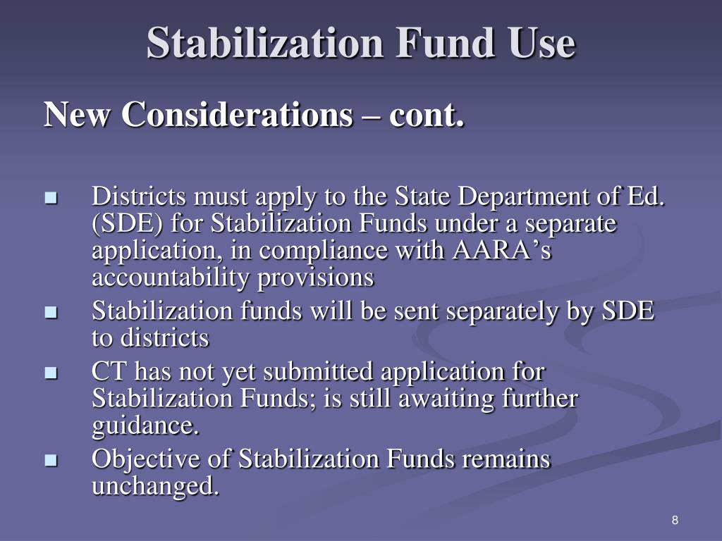 Stabilization Fund Use
