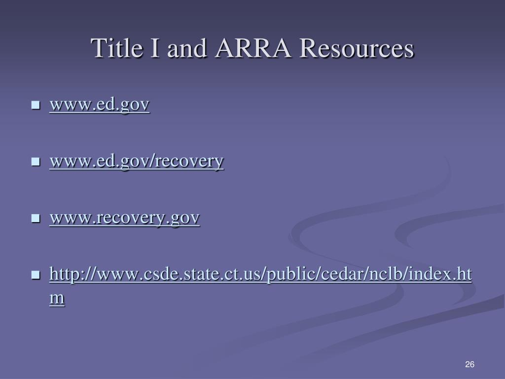 Title I and ARRA Resources