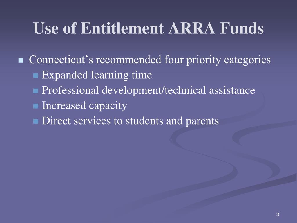 Use of Entitlement ARRA Funds