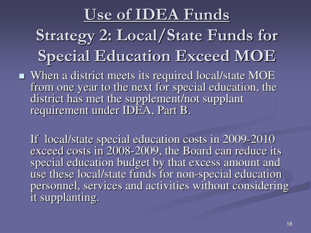 Use of IDEA Funds