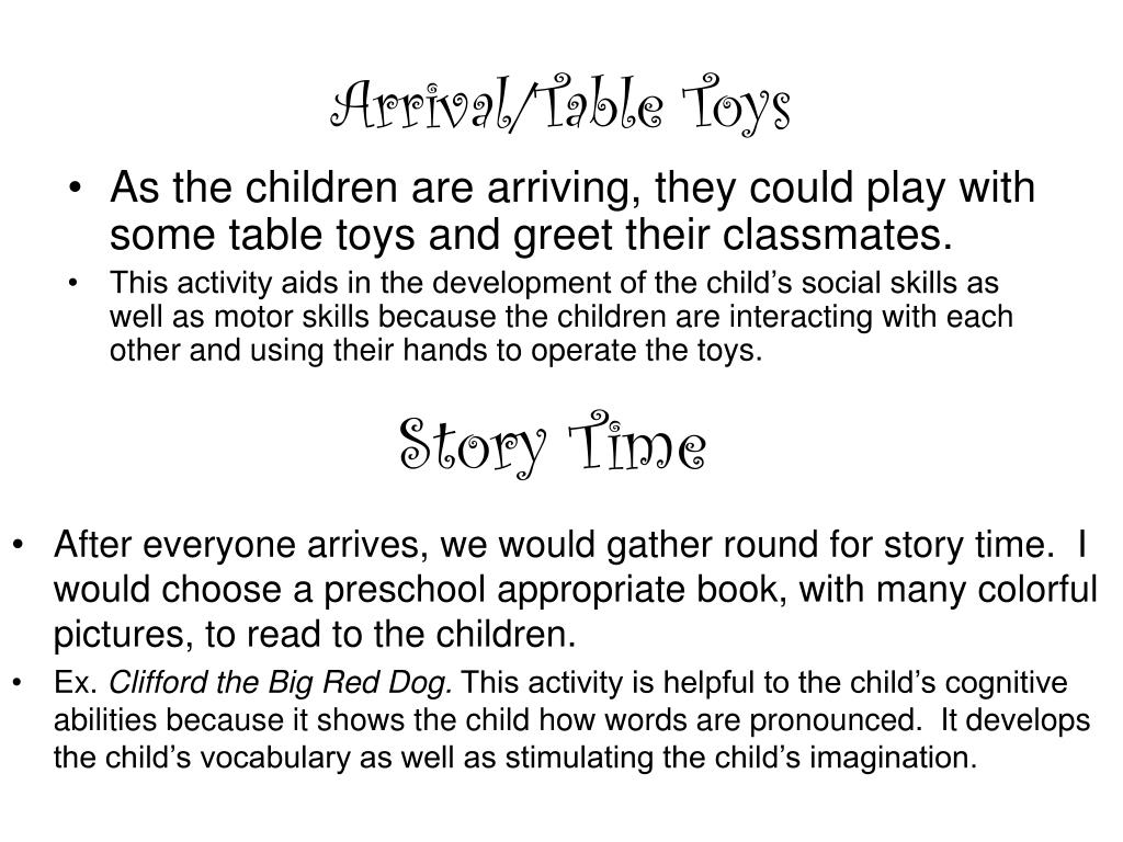 Arrival/Table Toys
