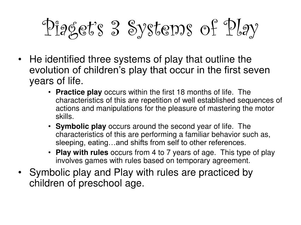 Piaget's 3 Systems of Play