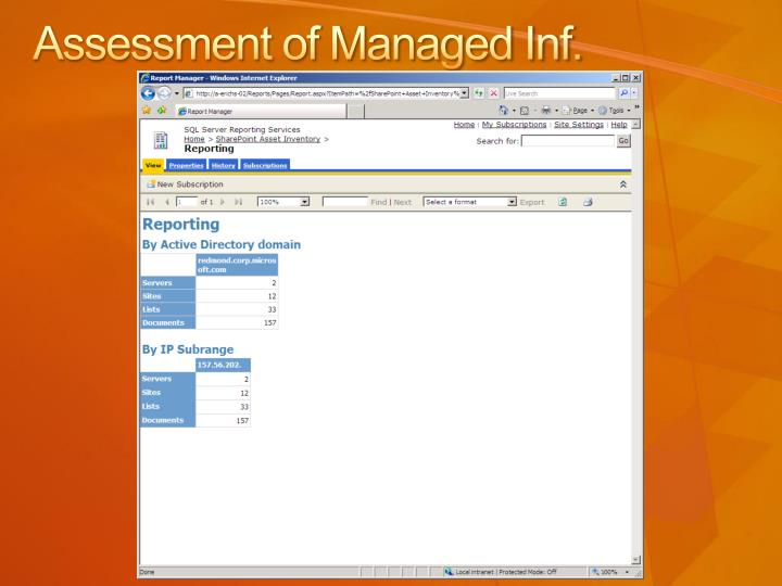 Assessment of Managed Inf.