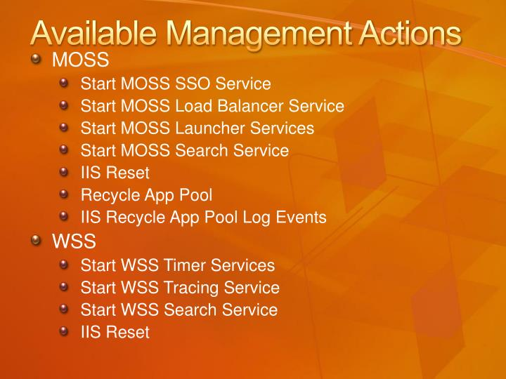 Available Management Actions