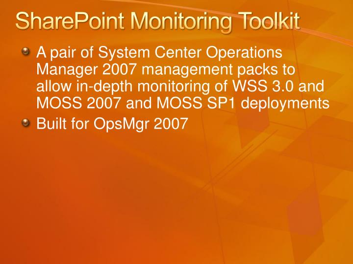 SharePoint Monitoring Toolkit