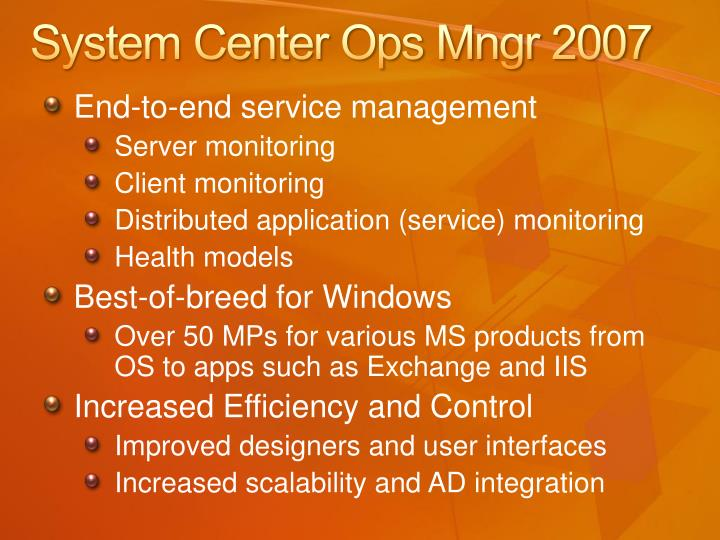 System Center Ops Mngr 2007