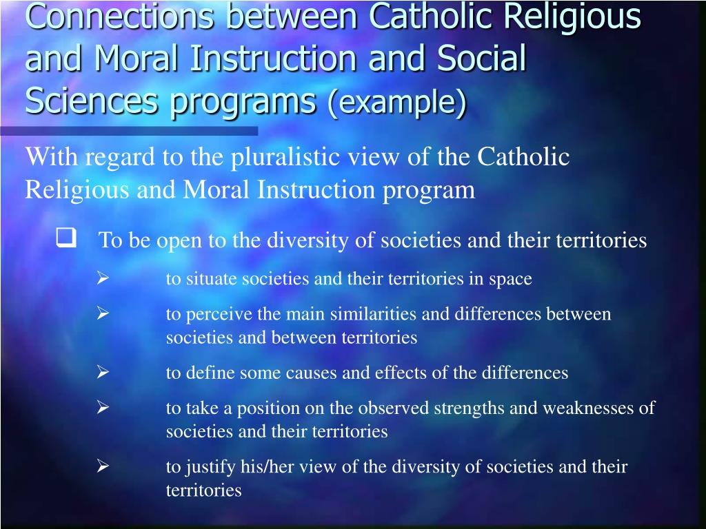 Connections between Catholic Religious and Moral Instruction and Social Sciences programs