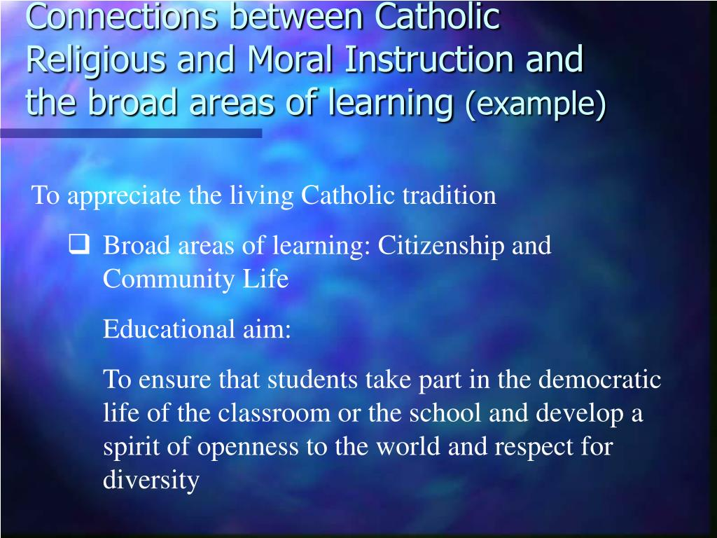 Connections between Catholic Religious and Moral Instruction and the broad areas of learning