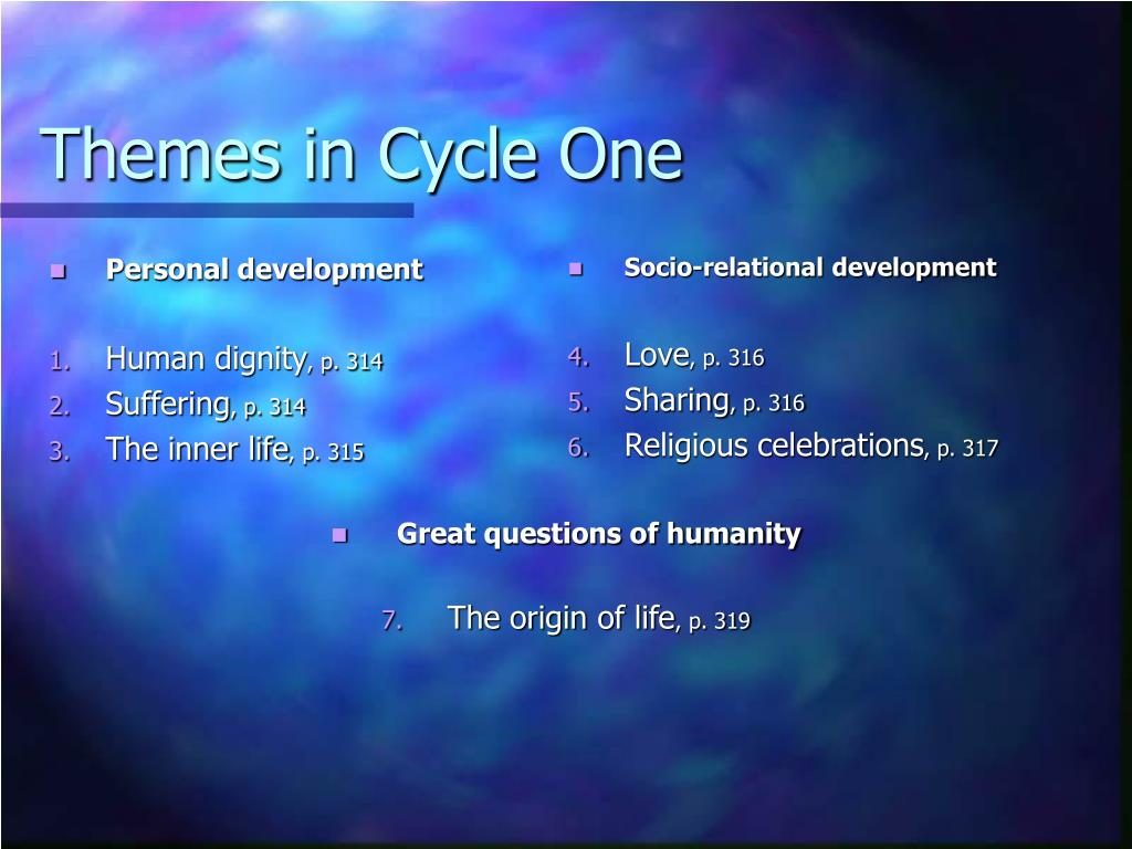 Themes in Cycle One