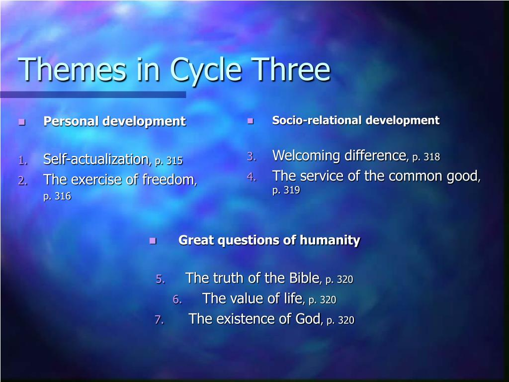 Themes in Cycle Three