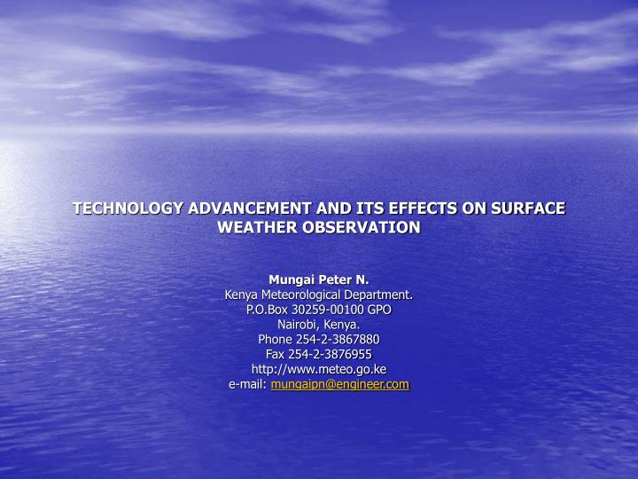 Technology advancement and its effects on surface weather observation