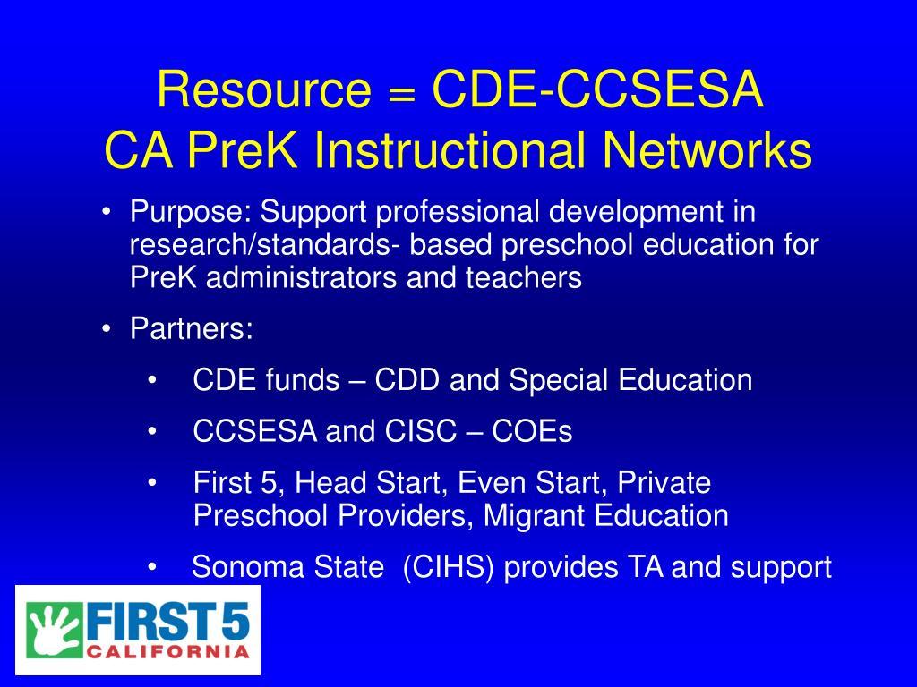 Resource = CDE-CCSESA