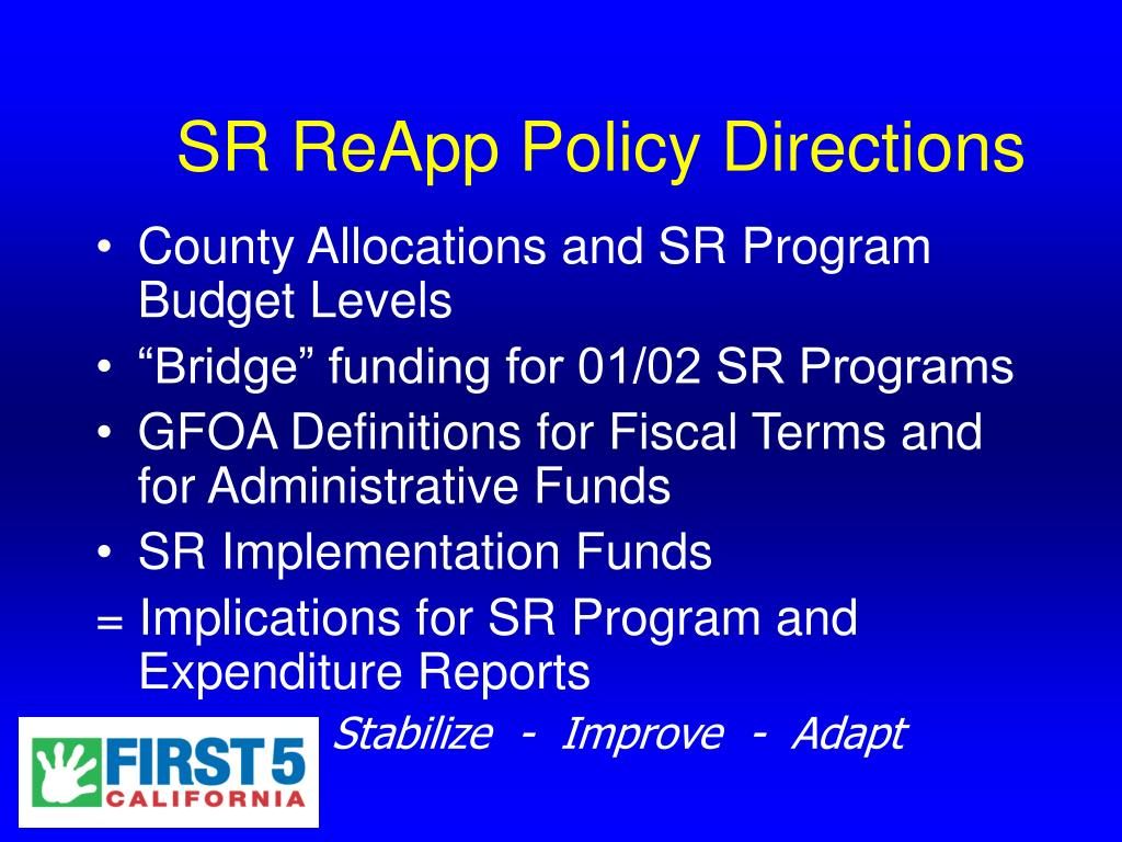 SR ReApp Policy Directions