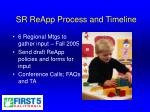 sr reapp process and timeline