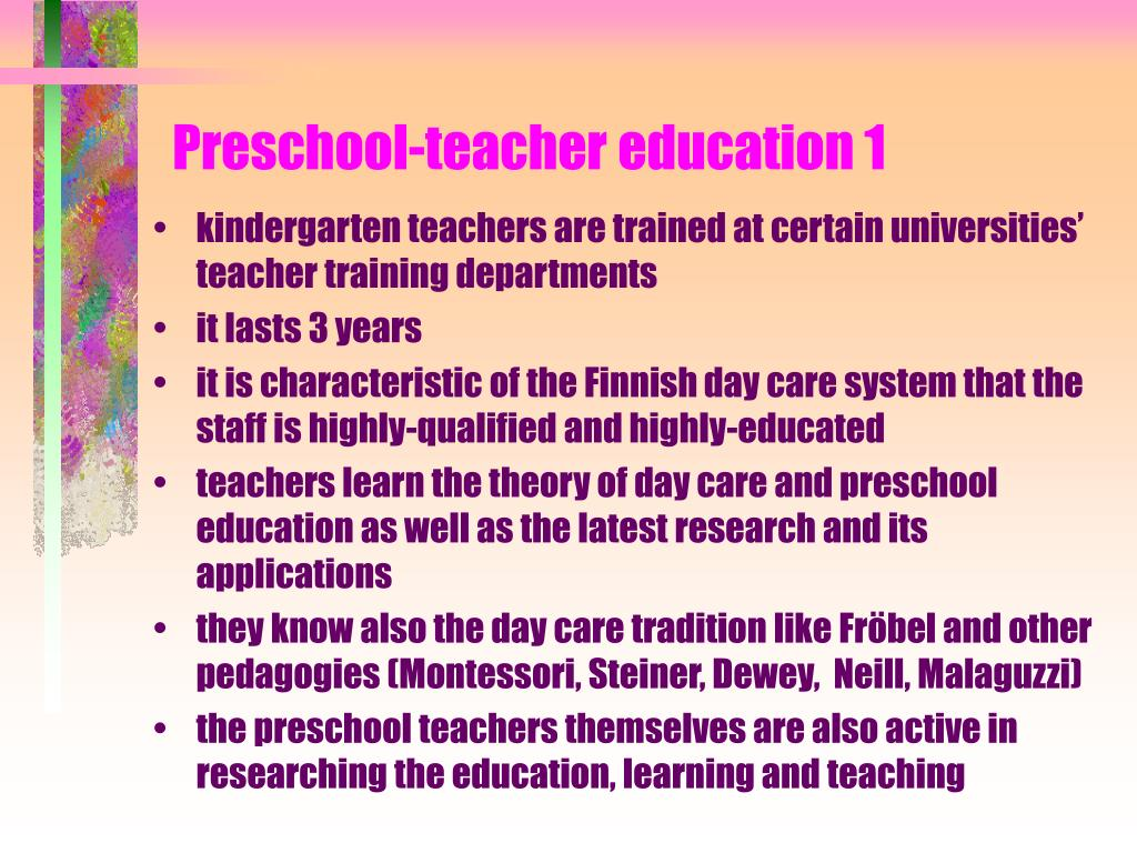 Preschool-teacher education 1